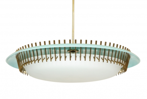 Rare round suspension light fixture in blue by Angelo Lelli for Arredoluce