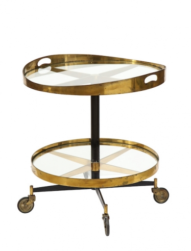 Brass and glass carrello table