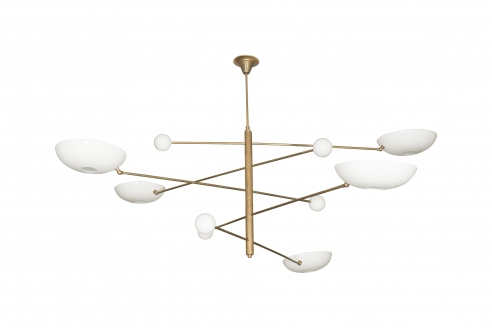 Very Large Articulating Five Arm White Enamel Circular Shade and Bronze Chandelier