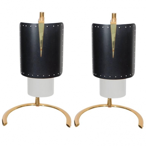 Pair of Italian Blackened Steel and Gold Plate Table Lamps