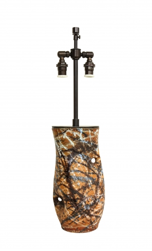 Asymmetrical form ceramic vase/lamp with abstract glaze by Accolay