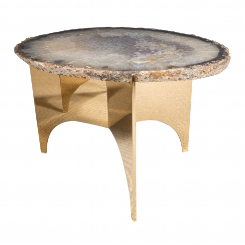 Agate Table with Mirrored Polished Bronze Base