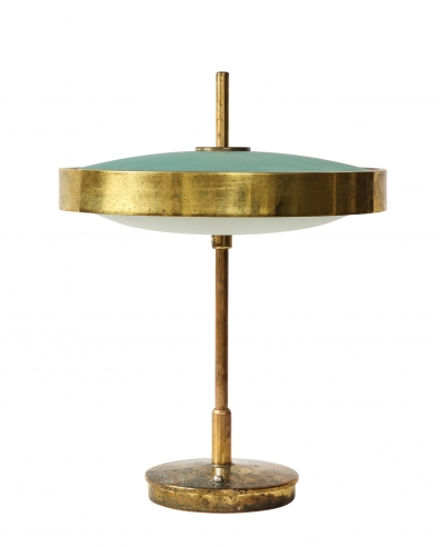 Lamp with glass domes by Oscar Torlasco