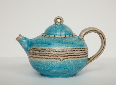 Blue Ceramic Teapot by Guido Gambone