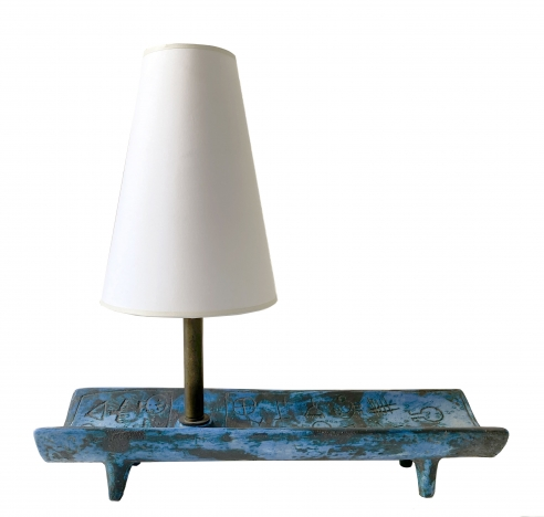 JACQUES BLIN BLUE TRAY LAMP