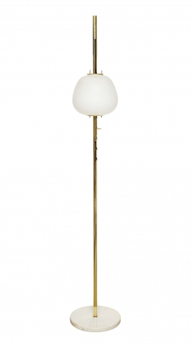 Tall Standing Lamp With Large Frosted Dome by Angelo Lelii for Arredoluce
