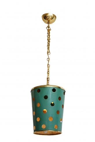 Green Tole and Brass Pendant Light