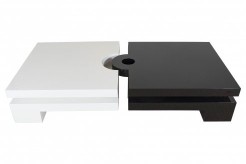"""Francois Cante-Pacos, signed; Pierre Cardin coffee table, black and white """"L'Amours"""" design"""