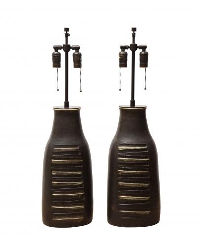 Pair of monumental lamps by Bruno Gambone