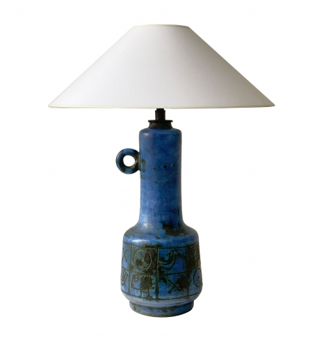 Small Blue Lamp with Handle by Jacques Blin