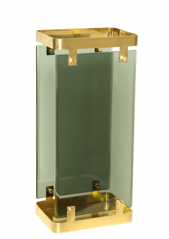 Green Glass and Brass Umbrella Holder by Fontana Arte