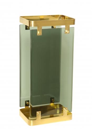 Green Glass and Brass Umbrella Holder by Fontana Arte