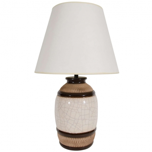 Large Brown and White Stripe Ceramic Lamp