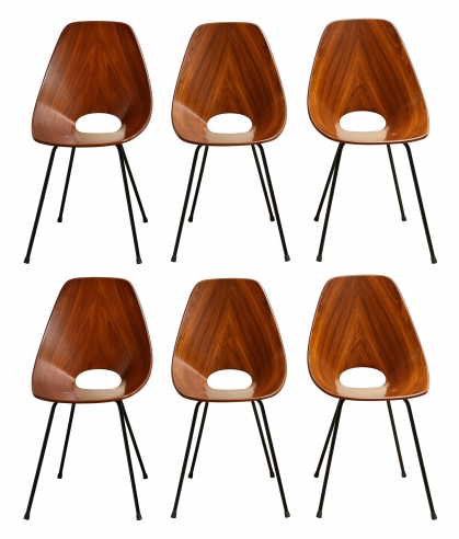 Set of Six Medea Chairs by Vittorio Nobili for Fratelli Tagliabue