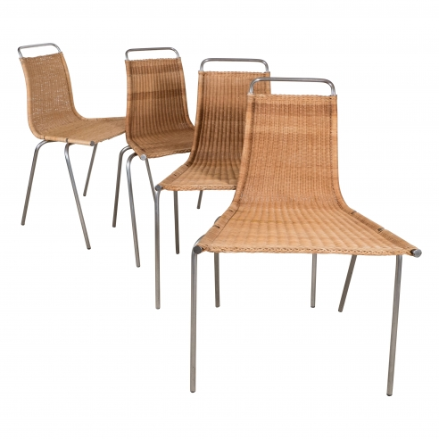 Set of Four Poul Kjaerholm (E. Kold Christiansen) PK1 Wicker Chairs