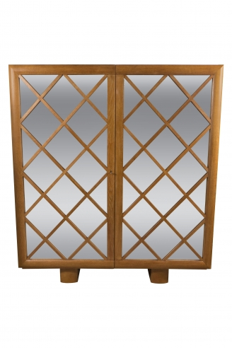"Large Mirrored Cabinet with ""Diamond Lattice"" Front"