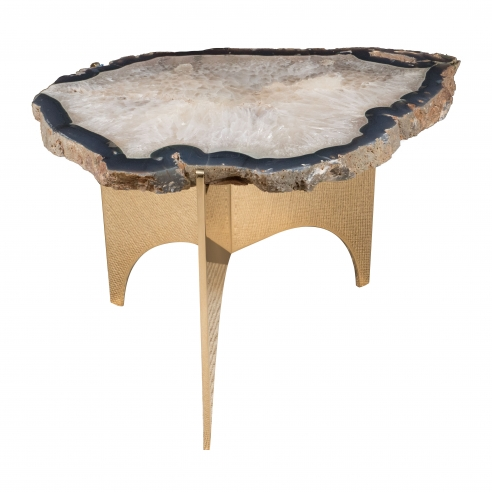 Agate Table with Mirror Polished Bronze Base