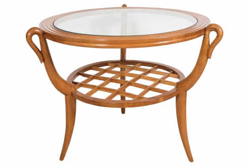Two tiered Gio Ponti style wood and glass occasional table