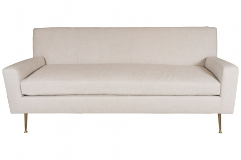 Robsjohn-Gibbings Inspired Sofa with Brass Legs