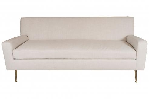 Robsjohn-Gibbings Inspired Sofa with Brass Legs