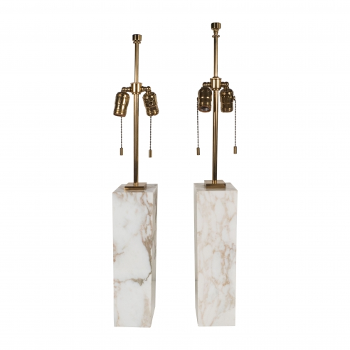 Pair of Gibbings White Marble Lamps, Hansen
