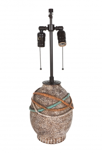 Jean Besnard Ceramic Lamp with Cord Motif on a Flat Vertically Incised Base