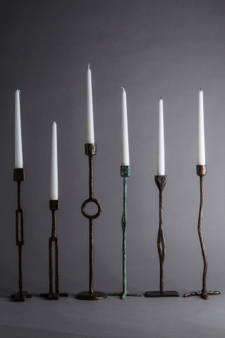 Jean Grisoni Bronze Candlesticks