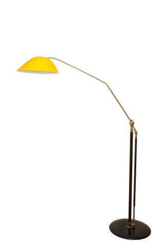 Floor lamp with golden tole shade by Angelo Lelli for Arredoluce