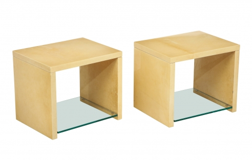 Pair of Goatskin Tables by Aldo Tura