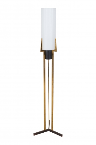 A Brass and Frosted Glass French Modernist Arlus Floor Lamp