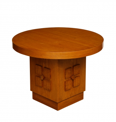 Round Side Table With Sculpted Base by Charles Dudouyt