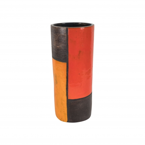 Raymor Bitossi Ceramic in Brown, Red & Orange Glaze