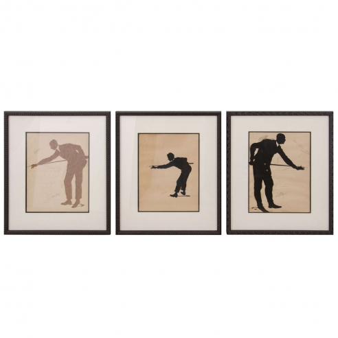 Framed Silhouette Billiard Players / set of 3