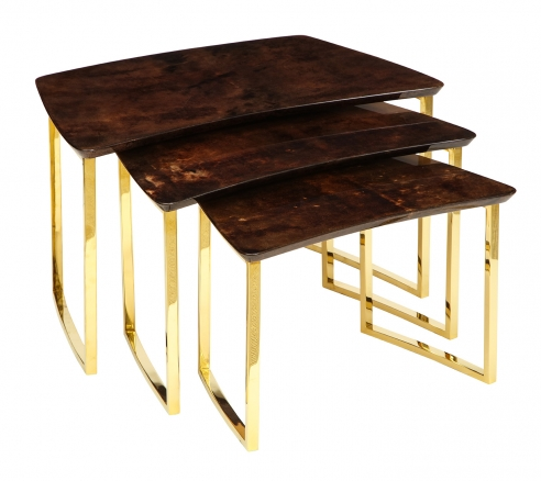 Set of Three Nesting Tables with Aldo Tura Lacquered Parchment Tops