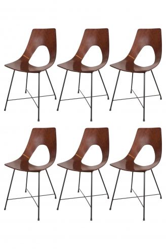 Set of Six Augusto Bozzi Black Metal Base and Teak Bentwood Chairs