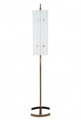 Angelo Lelli, Arredoluce, Bronze and Frosted Glass Floor Lamp.