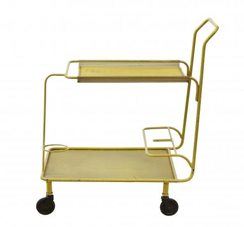 Enameled steel cart by Mathieu Matégot