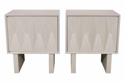 Cerused Oak Sculpted Front Nightstand by Appel Modern