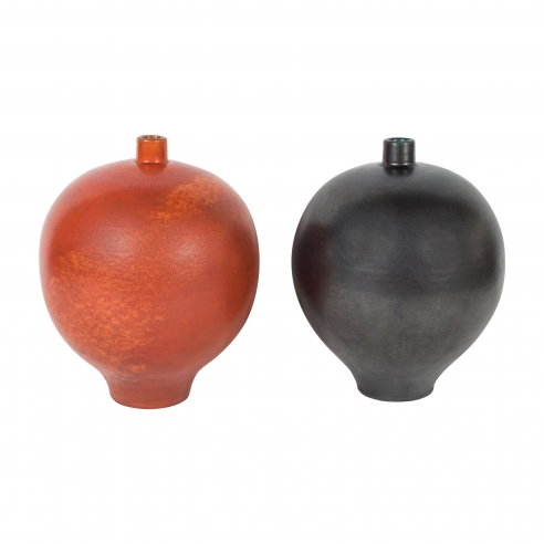 Pair of Black and Orange Primavera Vases