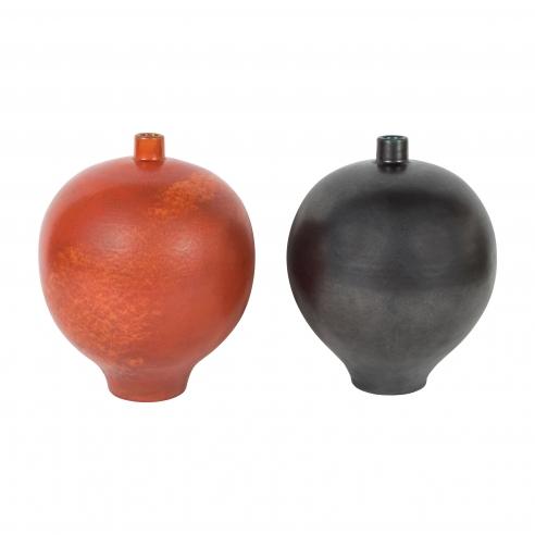 Pair of Black and Orange Primavera Vases