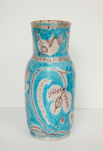 Blue Vase with Leaf Pattern by Guido Gambone