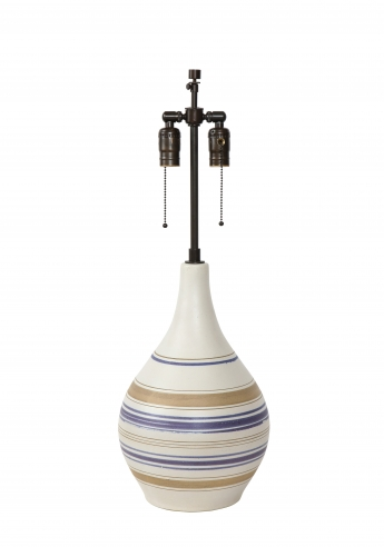 Tall lamp with blue and taupe stripes by Martz