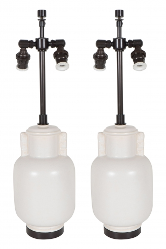 Pair of White Art Deco Lamps with Greek Key Motif