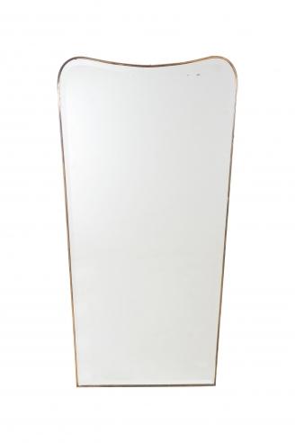 Modernist Bevelled Mirror with Brass Frame