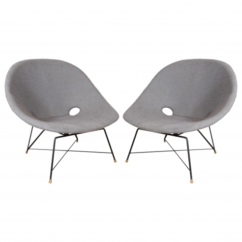 Pair of Grey Linen Chairs by Augusto Bozzi for Fratelli Saporiti