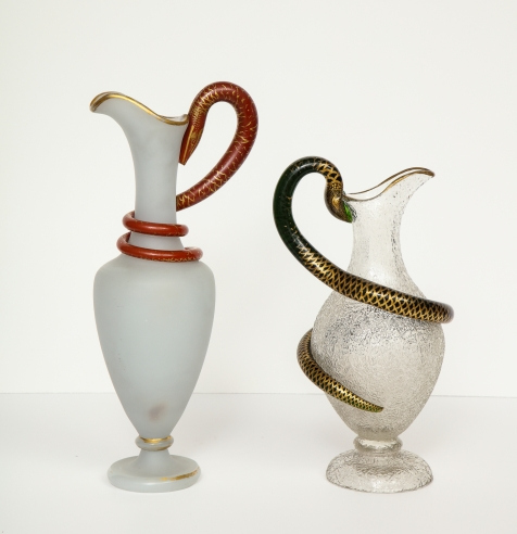 Pair of Snake Handled Ewers