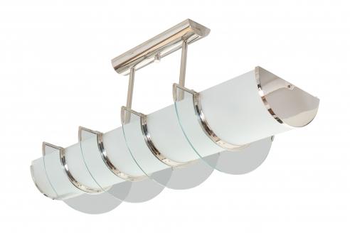Glass and Nickel High Art Deco Light Fixture