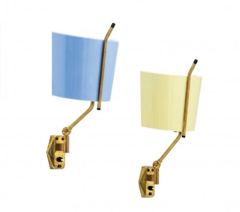 Pair of sconces in yellow and blue by Stilnovo