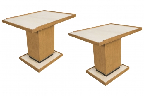Pair of Cerused Oak Side Tables with Parchment Top by Appel Modern