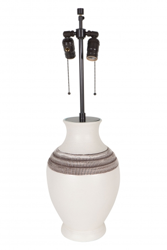 Chambost White Ceramic Lamp with Brown Collar